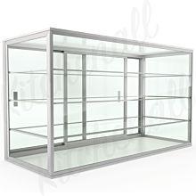 "Custom Glass 10""L x 10""D x 18""H, 3 Shelves, Upright Countertop Straight Glass Food Display Case, Dry"