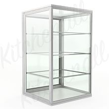 "Custom Glass 4 Shelves - 12"" Countertop Straight Glass Food Display Dry Case"