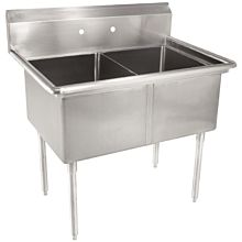 """53"""" 2 Compartment Sinks with 24"""" x 24"""" Bowls & No Drainboard"""