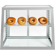 "Custom Glass 1 Shelf - 28"" Countertop Slanted Glass Food Display Case, Dry"