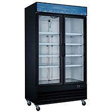 48″ Double Glass Swing Door Merchandiser Freezer - Black