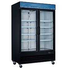 """53"""" Double Glass Swing Door Merchandiser Freezer - Black"""