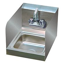 "12"" Stainless Steel Wall Hung Hand Sink with Faucet, 2 SIDE SPLASHES"