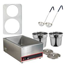 Global GLSW1 4 Quart and 7 Quart Pot Soup Warmer Set with Ladles