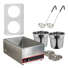 Global GLSW4 Two 7 Quart Pot  Soup Warmer Set with Ladles