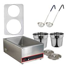 Global GLSW5 7 Quart and 11 Quart Pot Soup Warmer Set with Ladles