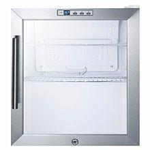 "SUMMIT 17"" SCR215LCSS Glass Door Glass Door Refrigerator with Stainless Steel Exterior"