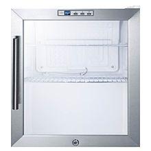 "SUMMIT 17"" SCR215L Glass Door Glass Door Refrigerator with White Exterior"