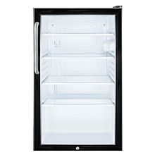 "Summit SCR500BL7TB 19"" Glass Door All-refrigerator for Freestanding Use, Auto Defrost with a Towel Bar Handle, and Black Cabinet"