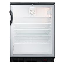 """Summit SCR600BGLDTPUB 24"""" Glass Door Craft Beer and Wine Refrigerator for Freestanding Use, with Black Cabinet"""
