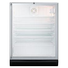 SUMMIT 24'' SCR600BGLSHADA Glass Door Freestanding Beverage Center with Black Cabinet