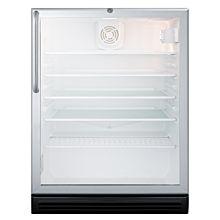 SUMMIT 24'' SCR600BGLTBADA Glass Door Freestanding Beverage Center with Black Cabinet