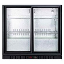 "SUMMIT 36"" SCR700B Glass Door Back Bar Beverage Center with Black Exterior"