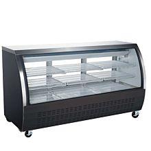 "Coldline DC80-B 80"" Refrigerated Curved Glass Deli Meat Display Case, Black"