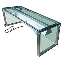"""Prepline PSG-LT-60 60"""" Glass Sneeze Guard with Lamp Bulb for Steam Table"""