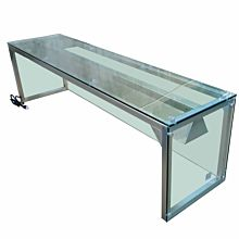 """Prepline PSG-LT-72 72"""" Glass Sneeze Guard with Lamp Bulb for Steam Table"""