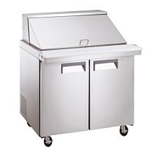 """Coldline SMP36 36"""" Mega Top Refrigerated Sandwich Prep Table with Cutting Board and Food Pans"""