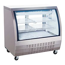 """Coldline DC48-SS 48"""" Refrigerated Curved Glass Deli Meat Display Case, Stainless Steel"""