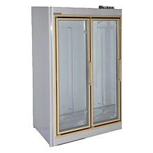 "Universal ADM-2-F 55"" Stainless Steel Two Swing Glass Door Remote Merchandiser Freezer"