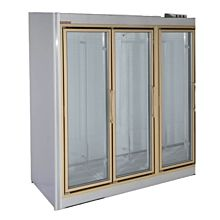 "Universal ADM-3-F 78"" Stainless Steel Three Swing Glass Door Remote Merchandiser Freezer"