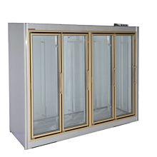 "Universal ADM-4-F 103"" Stainless Steel Four Swing Glass Door Remote Merchandiser Freezer"