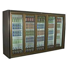 """Universal ADM-5-F 126"""" Stainless Steel Five Swing Glass Door Remote Merchandiser Freezer"""