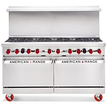 "American Range ARGF-10, 60"" Commercial Gas Range 10 Burners with Green Flame Pilotless Ignition"