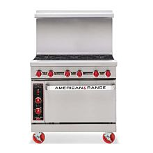 American Range AR-6C 36 in Commercial Range, 6 Burners, Convection Oven, Gas
