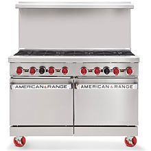 American Range ARGF-8, 48 inch Commercial Range with Green Flame Pilotless Ignition, 8 Burner