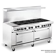 American Range  ARGF12G-10B, 72 inch Commercial Range with Green Flame Pilotless Ignition, 10 Burner