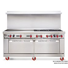 American Range ARGF24G-8B, 72 inch Commercial Range with Green Flame Pilotless Ignition, 24 inch Griddle