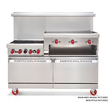 American Range ARGF4B-12RG, 36 inch Commercial Range with Green Flame Pilotless Ignition, Raised Griddle
