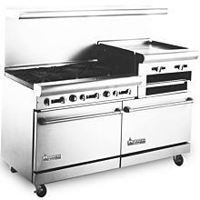 American Range 60 inch Commercial Range, 24 inch Raised Griddle, AR6B-24RG - Old Style