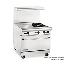 American Range 36 inch Commercial Range, 24 inch Griddle, ARW36-24G-2B - Old Style