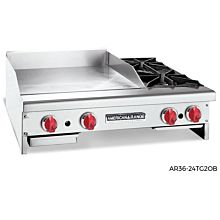 "American Range AR84-72GT20B 84"" Thermostatic Griddle with 2 Open Burners"