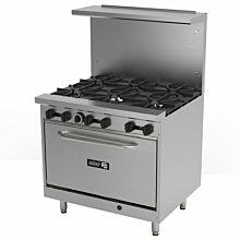 """Asber AER-6-36-E 36"""" 6 Burner Gas Restaurant Economic Range with Oven - 210,000 BTU"""