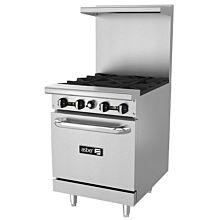 "Asber AER-4-24 24"" 4 Burner Gas Restaurant Range with Oven - 150,000 BTU"