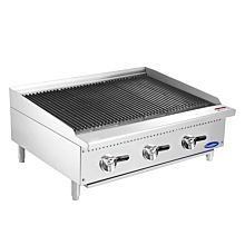 "Atosa CookRite ATCB-36 36"" Gas Lava Rock Manual Countertop Charbroiler with 3 Burner - 105,000 BTU"