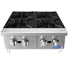 "Atosa CookRite ACHP-4 24"" Gas 4 Burner Manual Control Hotplate - 128,000 BTU"