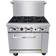 """Atosa AGR-6B- NG 36"""" CookRite Commercial Gas Range, 6 Burner, 1 Standard Oven - 219,000 BTU"""