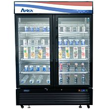 "Atosa MCF8721ES 54"" Freezer Merchandiser With bottom-mount self-contained refrigeration , 2 self-closing hinged glass doors with lock"