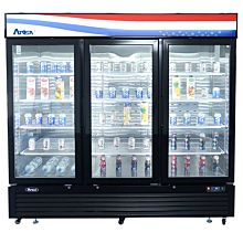 """Atosa MCF8728GR 81"""" Freezer Merchandiser With bottom-mount self-contained refrigeration , 3 self-closing hinged glass doors with lock"""
