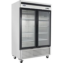 "Atosa MCF8703GR 54"" 2 Glass Door Reach-In Freezer"