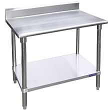 """B5SG3036 - 30""""D x 36""""L Stainless Steel Work Table W/ Back Splash and Under Shelf"""