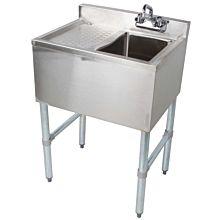 "BAR1014-1L 24"" Single Compartment Bar Sink , Left Drainboard"