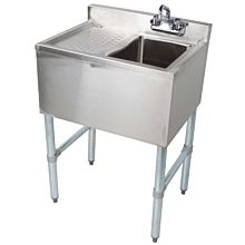 "Prepline PBAR1B24-L 24"" Stainless Steel One Compartment Bar Sink with Left Drainboard"