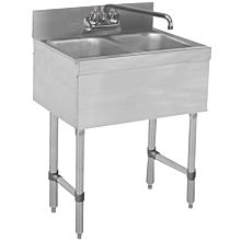 "27"" Stainless Steel Two Compartment Bar Sink with faucet"