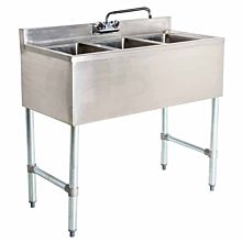 "Prepline PBAR3B38 38"" Stainless Steel Three Compartment Bar Sink"