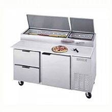 Beverage-Air DPD67-2 67 inch Pizza Prep Table with One Door and Two Drawers