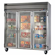 Beverage-Air HFP3-5G Horizon Series 78 inch Glass Door Reach-In Freezer with LED Lighting